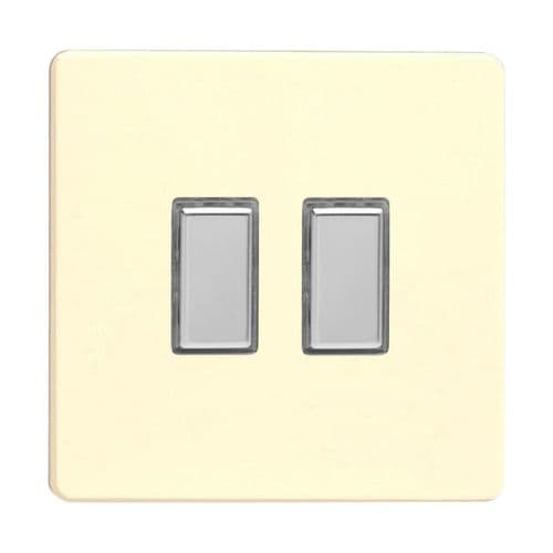 Varilight JDWES002S Screwless White Chocolate 2 Gang Touch Dimming Slave (use with V-Pro Master)