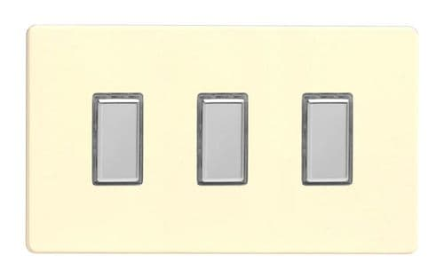 Varilight JDWES003S Screwless White Chocolate 3 Gang Touch Dimming Slave (use with V-Pro Master)