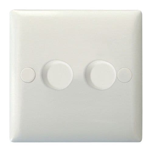 Varilight JOP252W Value Polar White 2 Gang 2-Way Push-On/Off LED Dimmer 0-120W V-Pro