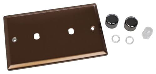 Varilight WYD2.BZ Urban Brushed Bronze 2 Gang Dimmer Plate Only + Dimmer Knobs (Twin Plate)