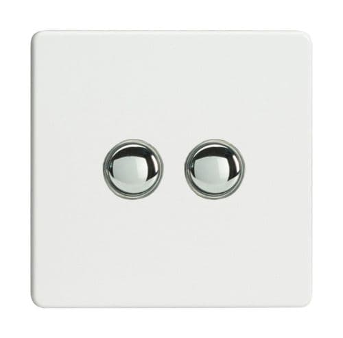 Varilight XDQP2S Screwless Premium White 2 Gang 6A 1 or 2 Way Push-On/Off Impulse Switch