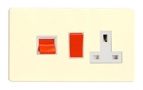 Varilight XDW45PWS Screwless White Chocolate 45A DP Cooker Switch + 13A Switched Socket
