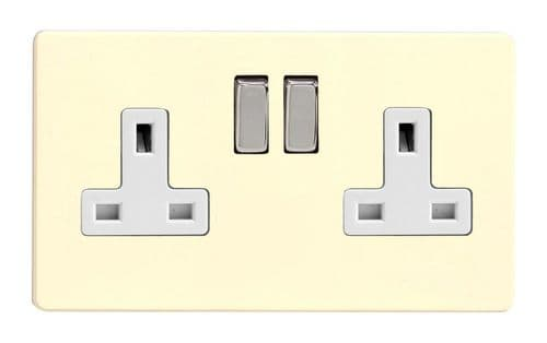 Varilight XDW5WS Screwless White Chocolate 2 Gang Double 13A Switched Plug Socket