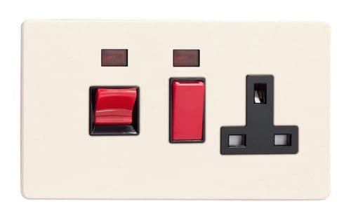Varilight XDY45PNBS.PD Screwless Primed 45A DP Cooker Switch + 13A Switched Socket