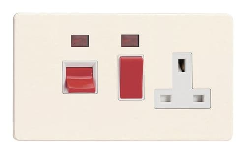 Varilight XDY45PNWS.PD Screwless Primed 45A DP Cooker Switch + 13A Switched Socket