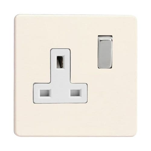 Varilight XDY4WS.PD Screwless Primed 1 Gang 13A DP Single Switched Plug Socket