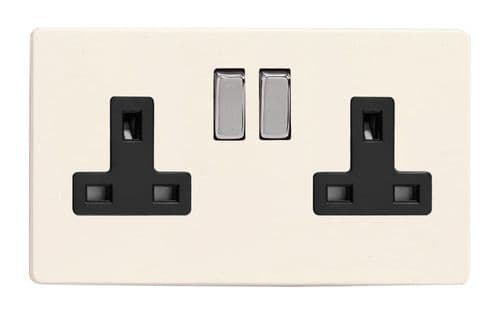 Varilight XDY5BS.PD Screwless Primed 2 Gang Double 13A Switched Plug Socket