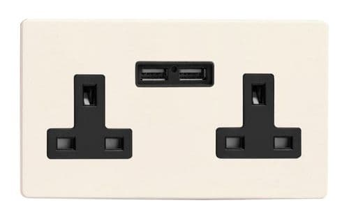 Varilight XDY5U2BS.PD Screwless Primed 2 Gang Double 13A Switched Plug Socket 2.1A USB