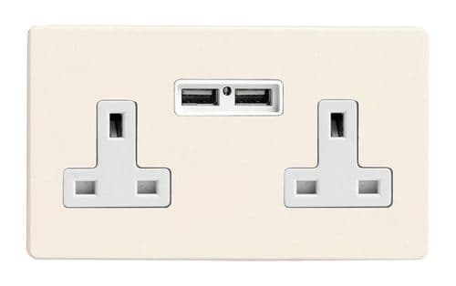 Varilight XDY5U2WS.PD Screwless Primed 2 Gang Double 13A Unswitched Plug Socket 2.1A USB