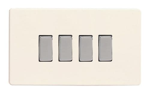 Varilight XDY9S.PD Screwless Primed 4 Gang 10A 1 or 2 Way Rocker Light Switch
