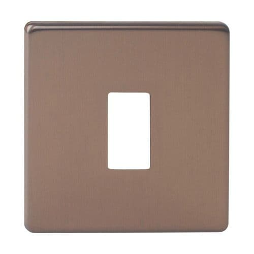 Varilight XDYPGY1S.BZ Screwless Brushed Bronze 1 Gang PowerGrid Plate (Single Plate)