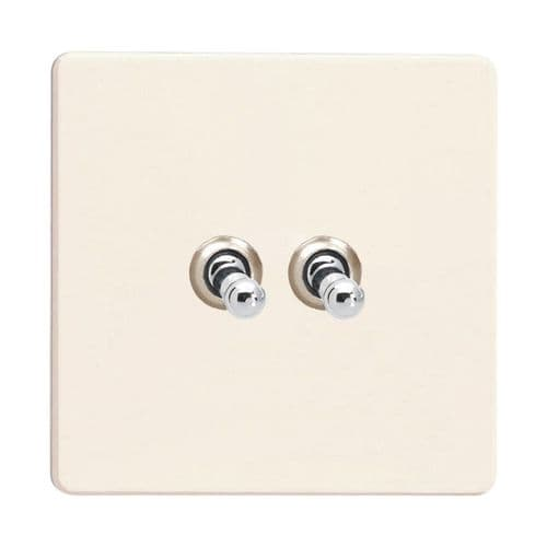 Varilight XDYT2S.PD Screwless Primed 2 Gang 10A 1 or 2 Way Toggle Light Switch