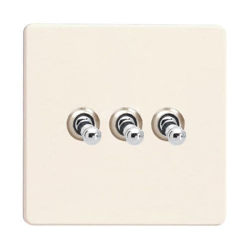 Varilight XDYT3S.PD Screwless Primed 3 Gang 10A 1 or 2 Way Toggle Light Switch