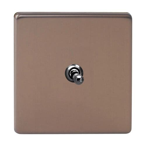 Varilight XDYT7S.BZ Screwless Brushed Bronze 1 Gang 10A Intermediate Toggle Light Switch