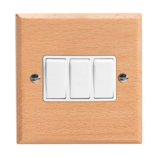 Varilight XK3BEW Kilnwood Scandic Beech 3 Gang 10A 1 or 2 Way Rocker Light Switch