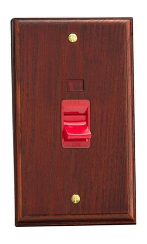 Varilight XK45NMB Kilnwood Mahogany 45A DP Cooker Switch Vertical Twin Plate + Neon