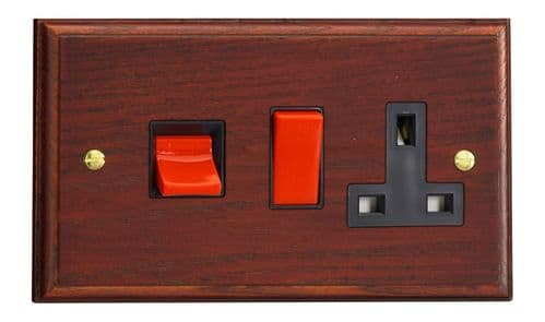 Varilight XK45PMB Kilnwood Mahogany 45A DP Cooker Switch + 13A Switched Socket