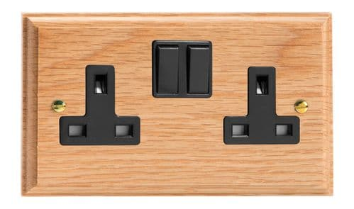 Varilight XK5OB Kilnwood Oak 2 Gang Double 13A Switched Plug Socket