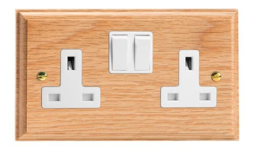 Varilight XK5OW Kilnwood Oak 2 Gang Double 13A Switched Plug Socket