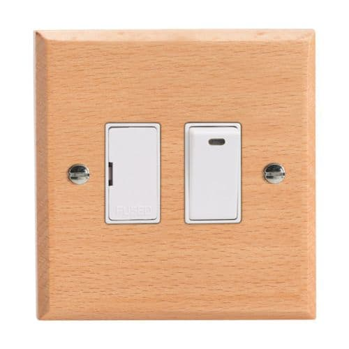 Varilight XK6NBEW Kilnwood Scandic Beech 1 Gang 13A Switched Fused Spur + Neon