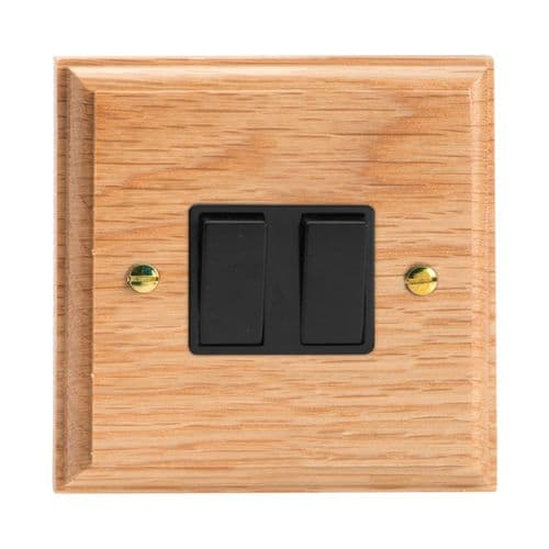 Varilight XK71OB Kilnwood Oak 2 Gang 10A Rocker Light Switch (1 x Intermediate 1 x 2W)