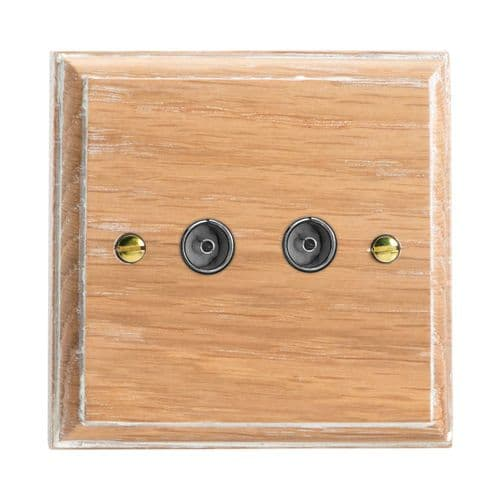 Varilight XK88LO Kilnwood Limed Oak 2 Gang Co-Axial TV Socket
