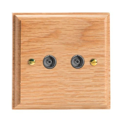 Varilight XK88O Kilnwood Oak 2 Gang Co-Axial TV Socket