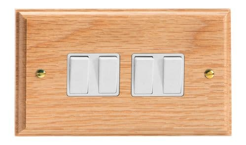 Varilight XK9OW Kilnwood Oak 4 Gang 10A 1 or 2 Way Rocker Light Switch