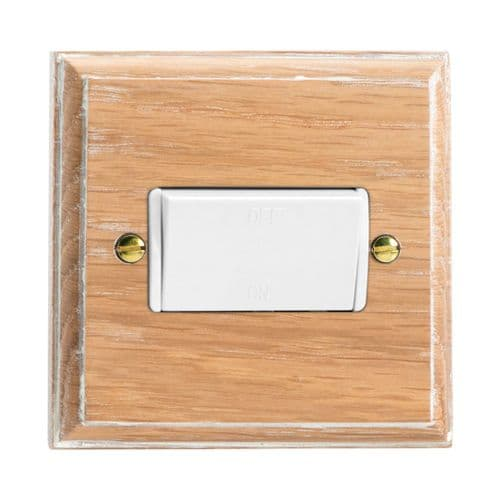 Varilight XKFILOW Kilnwood Limed Oak 1 Gang 10A Fan Isolating Switch (3 Pole)