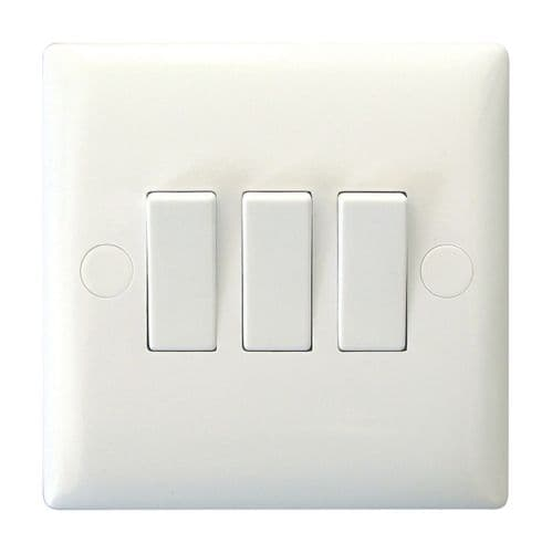 Varilight XO3W Value Polar White 3 Gang 10A 1 or 2 Way Rocker Light Switch