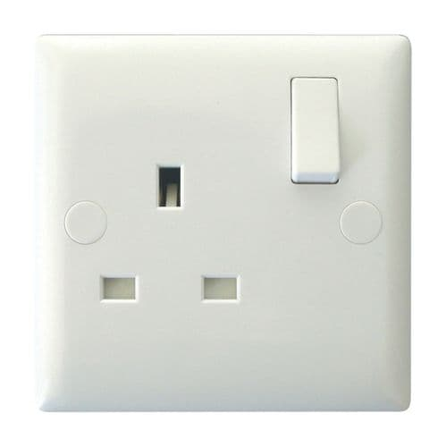 Varilight XO4W Value Polar White 1 Gang 13A DP Single Switched Plug Socket