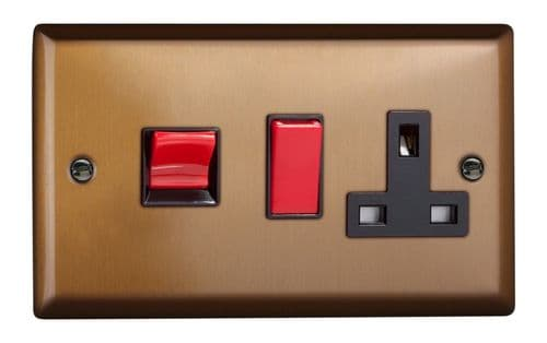 Varilight XY45PB.BZ Urban Brushed Bronze 45A DP Cooker Switch + 13A Switched Socket