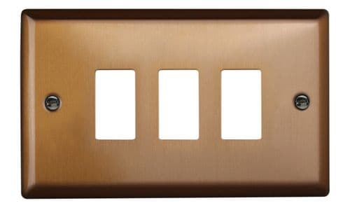 Varilight XYPGY3.BZ Urban Brushed Bronze 3 Gang PowerGrid Plate (Twin Plate)