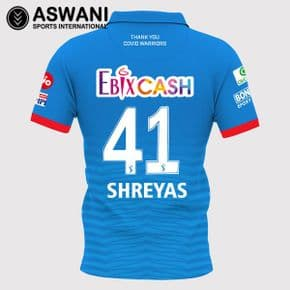 2020 Delhi Capitals DC Official Dream11 IPL Replica Match Jersey, SHREYAS IYER 41