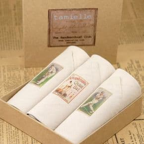 Gents Handkerchiefs in Gift Box - Pack of 3 - Vintage Cricket Images
