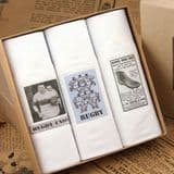 Gents Handkerchiefs in Gift Box - Pack of 3 - Vintage Rugby Images