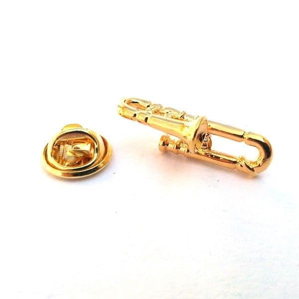 Gold Trombone Pin Badge