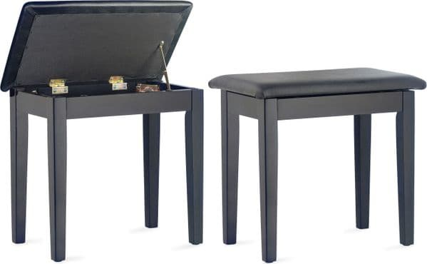 Matt Black Piano Bench with Black Vinyl Top and Storage Compartment