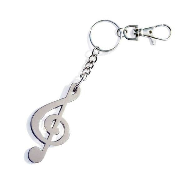 Metal treble clef key ring