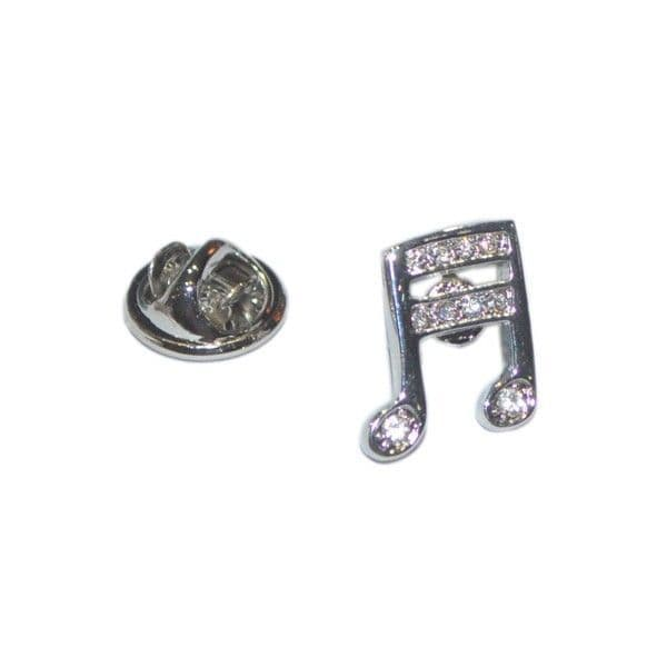 Musical Notes Crystal Encrusted Pin Badge