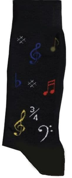 Musical Symbol Black Socks Size 6-11