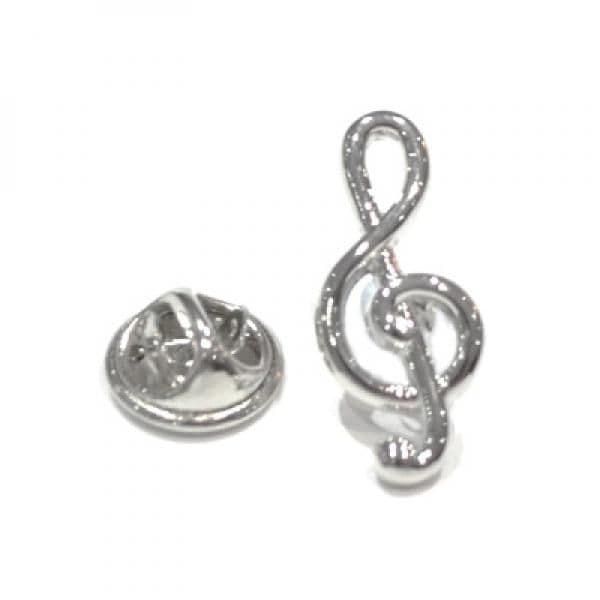 Silver Plated Treble Clef Pin Badge