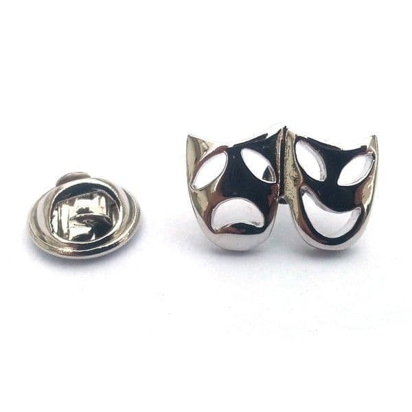 Silver Theatre Masks Pin Badge