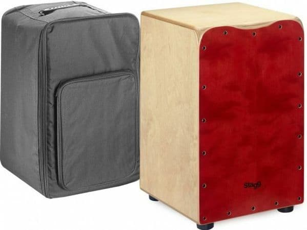 Stagg CAJ-50M RD Standard Sized Birch Cajon - Red Front w/ Bag