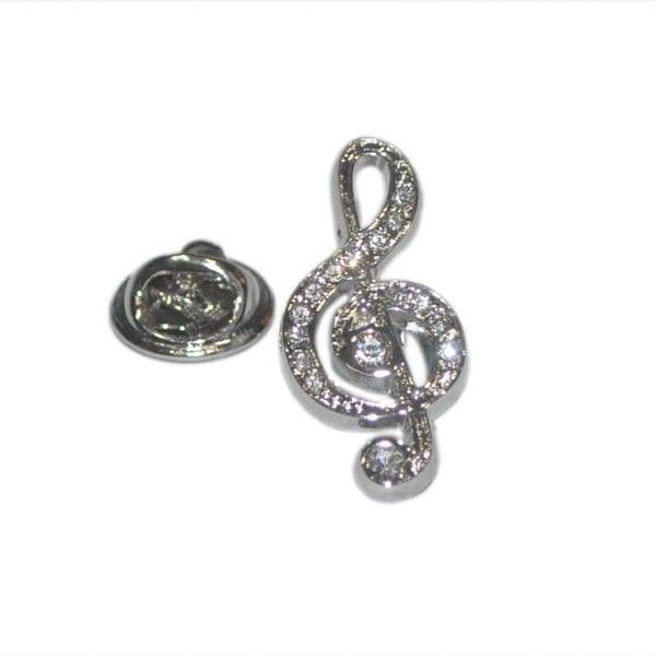 Treble Clef Crystal Pin Badge