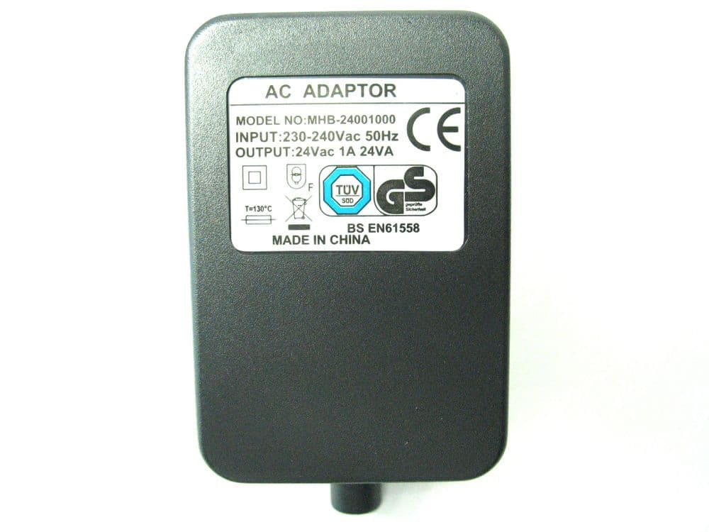 1000ma (1a) 24v 24VA AC/AC (AC Output) Power Adaptor With Built In Socket