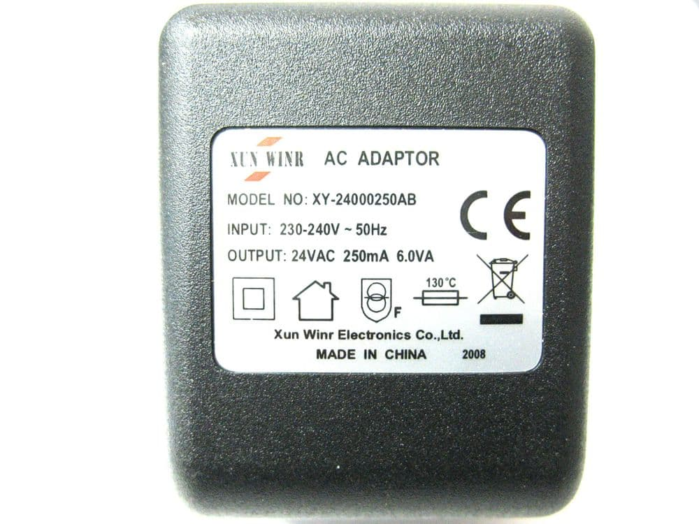 250ma (0.25a) 24v 6VA AC/AC (AC Output) Power Adaptor With Built In Socket