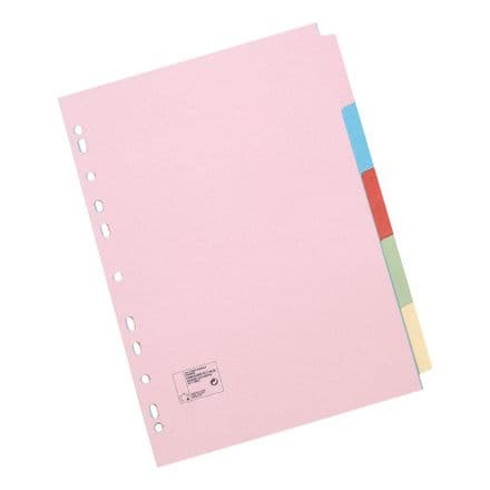 5 Star Office Dividers 5-Part Recycled Card  A5