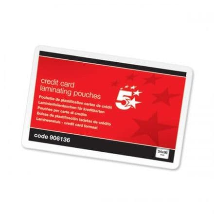 5 Star Office Laminating Pouches 250 Micron for Credit Card size 54x86mm Gloss Pack 100