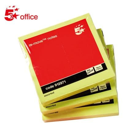 5 Star Office Re-Move NotesPad of 100 - 76x76mm - Neon Yellow